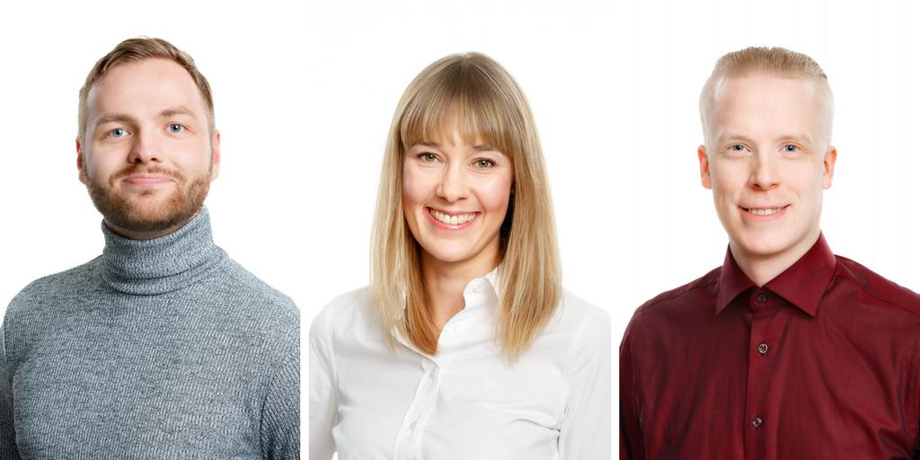 Triuvaren uudet työntekijät Tuomas Jaakkola, Kiti Tapio ja Marko Harinen